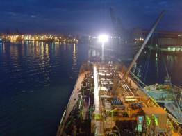 Porto de Santos ao anoitecer